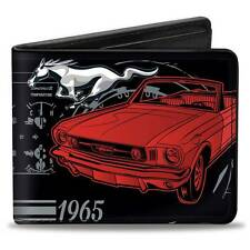 Men Wallet Bifold Ford Mustang 1965 Control Panel Black Silver Logo GT Cobra