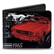 Men Wallet Bifold Ford Mustang 1965 Control Panel Black Silver Logo GT Cobra