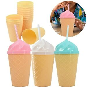 Set of 12 Ice Cream Party Cups & Reusable Straws Summer Drinking Bottles, 450 ml