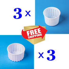 Set of 6 Cheese making Molds 0.6+0.25L|Professional Basket Mold for cheesemaking