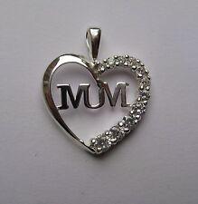 argento zirconi Mum In ciondolo a cuore 1.65G G