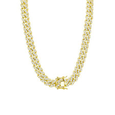 Real 14K Gold Plated Miami Cuban Link Iced 12mm Choker Necklace Prong Set