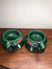 Vintage Lefton Japan Holly & Berry Pillar Candle Holders # 6029 Set of 2 Green