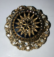 Vintage Costume Jewellery Baroque Style Jet Glass Gold Tone Brooch