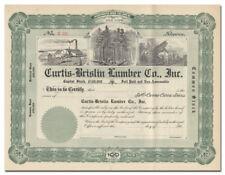 Curtis-Brislin Lumber Company, Inc. Stock Certificate (Brooklyn, New York)