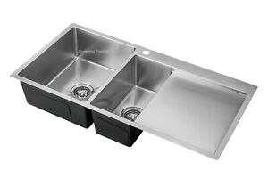 Handmade Stainless Steel Kitchen Sink Double Bowls with Drainer (100 cm x 49 cm)