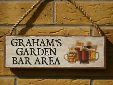PERSONALISED BEERS SIGN DRINKING AREA GARDEN BAR OUTDOOR BAR SIGN DECKING PATIO