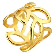 Gold Plated Stainless Steel Fashion Women's Leaf Finger Ring Jewelry Gift Size 7