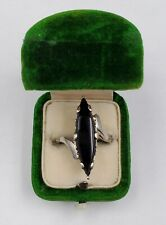 Vintage 10k White Gold And Black Onyx Women's Ring Size 6.25  3.3g