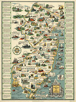 Vintage Historical Map of New Jersey Wall Art Poster Print Decor Genealogy