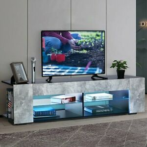 """57'' TV Stand for TVs up to 65"""", with Open Glass Shelves & Remote LED Light,"""