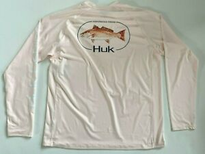 HUK New Red Fish Long Sleeve Peach Fishing Shirt Men's Large