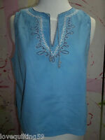 """ARIZONA"" Tank Top, Blue, Size Large, Embroidary, V-Neckline, 100% Cotton, Soft"