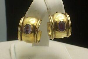 Gold Washed Sterling Silver Wide Hoop Earrings Amethyst Cabochon Pierced Earring