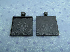 "25 Qty - 1"" Square Pendant Trays - Dark Black Color - Cameo Crafts 25mm 1 inch"