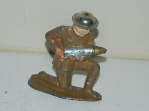 Barclay Manoil Lead Toy Soldier Artillery Shell Loader  Tin Helmet