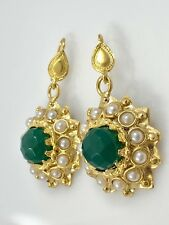 Byzantine Revival  Chalcedony & Cultured Pearl Earrings 22K Gold Overlay