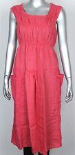 Ladies Italian Lagenlook Ruched Design Sleeveless 2 Large Pockets Linen Dress