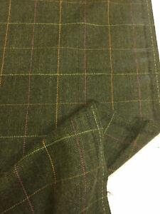 Green Window Pane Check & Herringbone 100% Wool Suit/Jacketing Fabric 320g