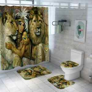 4pcs Bathroom Shower Curtain Set African Queen Lion Pattern Toliet Cover+Rug+Mat