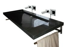 """Waschbecken, Doppelwaschtisch aus Granit, """"Bern 130x55cm"""", schwarz, India Black"""