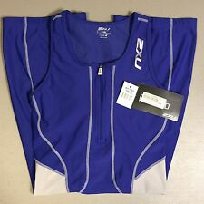 TRISUIT 2XU Compression Sleeveless  SzXL. WT1778D Royal Blue And Gray Women's