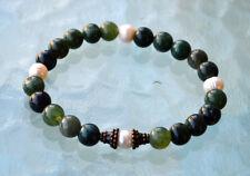 Earthy Fresh Water Pearl Moss Agate Wrist Energized Mala Beads Healing Bracelet