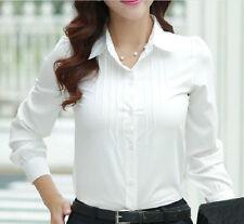 Fashion Women Long Sleeve Slim Fit Lapel Tops Chic OL Business Button Down Shirt