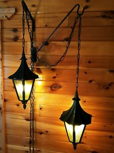 Antique/Vtg Arts Crafts Gothic Cast Metal Witches Hat Hanging Swag Lights, Pair
