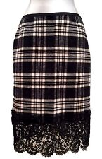 NEW, SACAI LUCK BLACK AND WHITE CHECK SKIRT WITH LACE, 2, $745