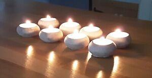 Set of 8 Stone Tea Light Candle Holders Garden Wedding Dinner