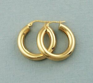 9ct Gold Hoop Earrings - Round Tube - 9ct Gold Round Creole Earrings - 24mm