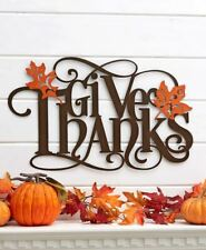 "Large ""GIVE THANKS"" w/ Leaves Metal Thanksgiving Hanging Wall Art"