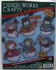 SNOWMAN ORNAMENTS CHRISTMAS Counted Cross Stitch plastic canvas set of 6