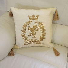 Luxury Embroidered Royal Lion Crest Wreath Cushion - Red, Cream, Green or Navy