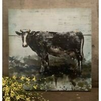 New Primitive Country Rustic Farmhouse BLACK COW WOODEN PALLET PICTURE Hanging