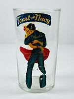 VTG WW2 Victory Homefront Peekaboo Pinup Glass #4 Toast the Navy