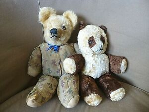 2 x Antique Vintage 1930's Merrythought Teddy Bear & Dean's Rag Book Panda Bear