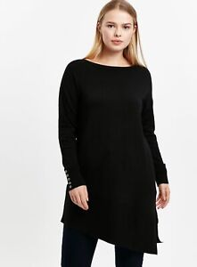 Evans Womens Black Asymmetric Hem Tunic Jumper Long Sleeve Knitwear Top Blouse