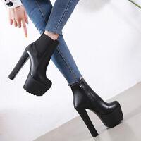 Boots Sexy Cuir Mat Haut Talons Carré 16 Cm ! P34 - 40 NEUVES