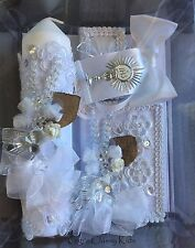 New First Communion Candle Box Gift 5 Pc Set For Girls or Boys English Missal