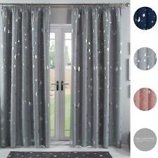 Dreamscene Galaxy Star Pencil Pleat Blackout Pair Curtains Thermal Ready Made