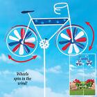 Metal Patriotic Bicycle Wind Spinner Garden Stake Yard Art Independence Day Fun