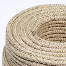 Textilkabel, Faser umflochten, rund, Jute-Rope, ca.8mm, 3x0,75 H03VV