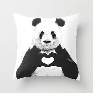 2 Cushion Pillow Cover Throw Animal Panda Heart 18'*18' Home Decor UK Stock Gift