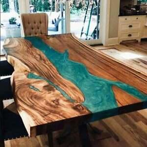 "72"" x 40"" Epoxy Resin Live Edge River Table, epoxy Center table"
