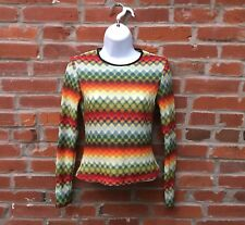 Vintage 90s Multicolored Stripe Knit Long Sleeve Shirt Womens (1535)