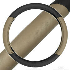 Two Tone Perforated PU Leather Steering Wheel Cover For Car Van SUV Truck  Beige