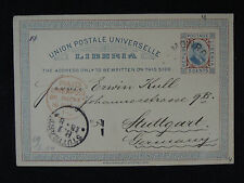 LIBERIA UPU stationery card 1894 to Stuttgart Germany mark PAID Liverpool cover