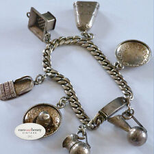 *Vintage 30's/40's Mexican Silver 7 Charms Bracelet  40 grams